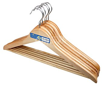 ROZENBAL Pack de perchas de madera con barra para pantalón Pack de 6 Unidades