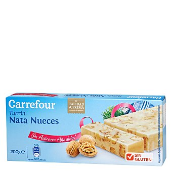 Carrefour Turrón nata-nueces sin azúcares 200 g