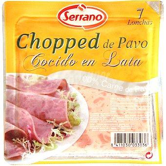 Carnicas Serrano Chopped de pavo cocido en lata 7 lonchas Envase 160 g
