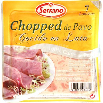 Serrano Chopped de pavo cocido en lata 7 lonchas Envase 160 g