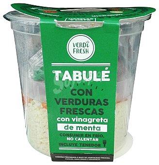 Verdifresh Tabulé con verduras frescas (cous cous, tomate, pimiento, zanahoria, calabacín, pasas, vinagreta de menta y tenedor) Tarrina de 240 g