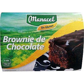 MANACEL brownies de chocolate sin gluten envase 210 g 2 unidades