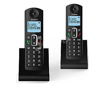 Alcatel Teléfono inalámbrico dúo negro, identificación llamadas, agenda, manos libres, pantalla iluminada, bloqueo llamadas F685