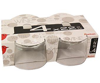 Auchan Pack de 4 vasos para vino modelo bistro, con capacidad de 23 centilitros 1 Unidad