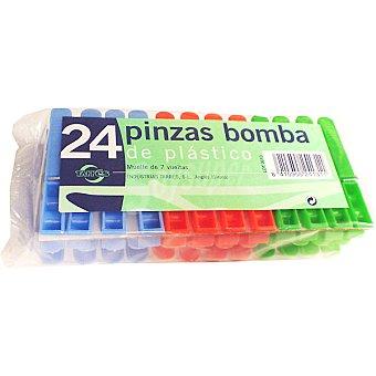 BOMBA Pinzas para la ropa de plástico blister 24 unidades