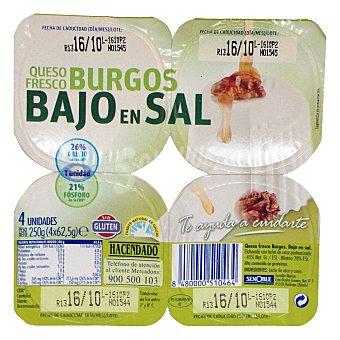 Hacendado Queso fresco burgos bajo en sal Pack 4 x 62,5 g - 250 g