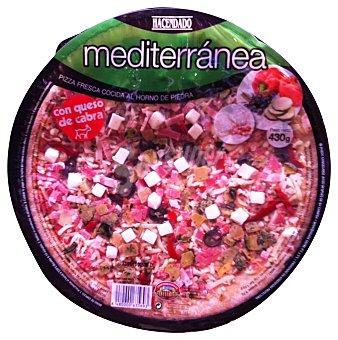 Hacendado Pizza fresca mediterranea (queso cabra, esparragos, calabacin, bacon, aceitunas) 430 g