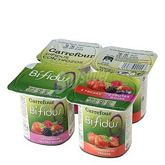 Carrefour Bífidus desnatado 0% materia grasa con fresa y frutas del bosque Pack de 4x125 g