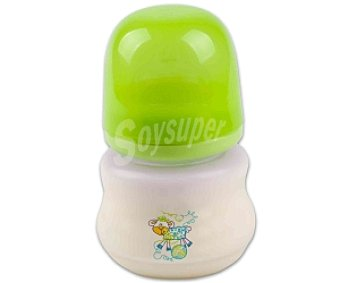 Baby Auchan Biberón boca ancha .tetina de silicona, flujo normal, verde150 Mililitros 1 Unidad