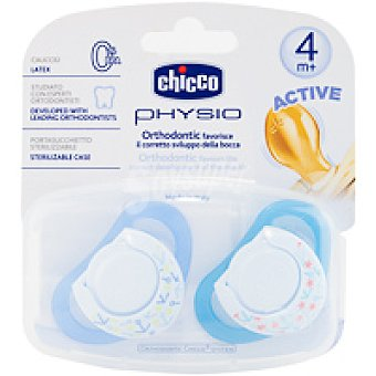 CHICCO CHUPETE PHYSIO CAUCHO AZUL 4M+ 2 UDS