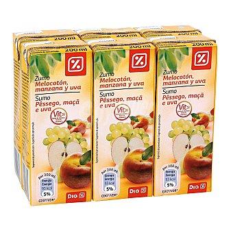 DIA Zumo melocoton manzana uva pack 6 brik 20 cl