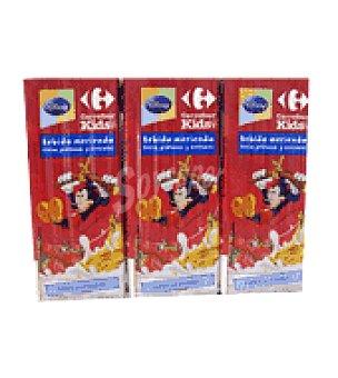 Carrefour Kids Bebida de fresa, plátano, leche y cereales Pack de 3