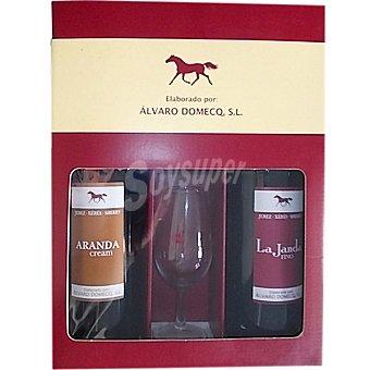 ARANDA Cream y La Janda fino Estuche 2 botellas 75 cl + copa cata vinos Estuche 2 botellas 75 cl