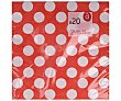 Servilletas de papel color rojo con lunares blancos, 33x33cm., triple capa, 20 unidades ACTUEL. 20 unidades Actuel