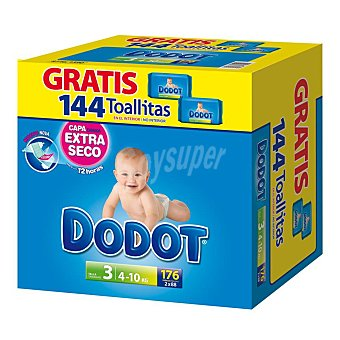 Dodot Azul pañales talla 3 paquete 176 uds + toallitas 144 uds 4-10 kgs