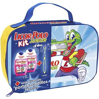 LICOR DEL POLO neceser portabocadillos térmico dentífrico + elixir Junior sabor fresa + cepillo de dientes pack 2 bote 75 ml