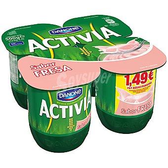 Activia Danone Yogur con sabor a fresa Pack 4 unidades 125 g