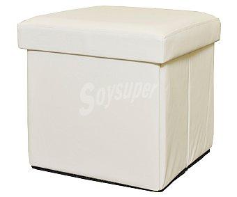 SINDER Puff cuadrado plegable de polipiel color blanco, serie Essencial, 38x38x38 centimetros 1 unidad