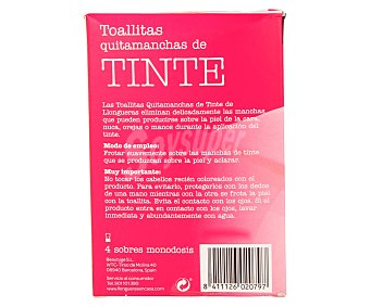 Llongueras Toallitas quitamanchas de tinte, son suaves, eliminan las manchas de tinte en la piel y es rápido y eficaz 4 unidades