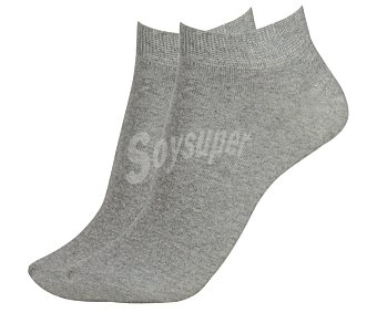 In Extenso Pack de 2 pares de calcetines deportivos tobilleros invisibles color gris, talla 43/46