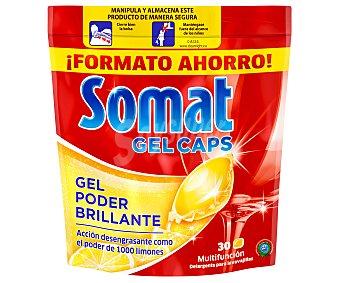 Somat Gel Caps detergente lavavajillas gel poder brillante concentrado limon bolsa 30 capsulas Bolsa 30 capsulas