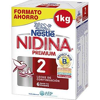 Nidina Nestlé Leche de continuación en polvo desde los 6 meses Premium 2 Envase 1000 g