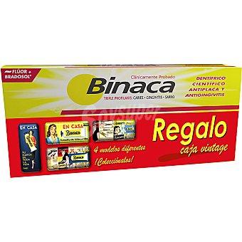 Binaca pasta dentífrica amarilla + regalo de una lata vintage pack 2 tubo 75 ml