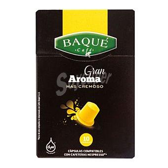Baqué Cápsulas Café Gran Aroma - Intensidad 6 - Compatibles con Máquinas Nespresso Caja 10 monodosis
