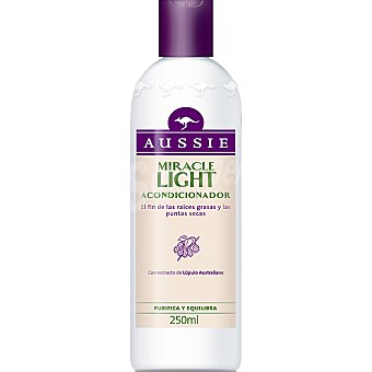 Aussie Acondicionador Miracle Light con extracto de lúpulo australiano purifica y equilibra Frasco 250 ml
