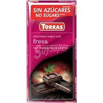 Torras Chocolate negro con fresa sin azúcar Tableta 90 g