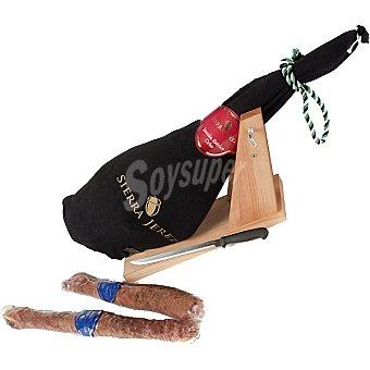 SIERRA JEREZ Jamón ibérico de cebo de Extremadura pieza 7-7,5 kg +regalo chorizo+salchichón ibérico 1 kg aproximadamente cada uno + cuchillo + jamonero 7-7,5 kg