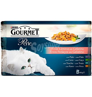 Purina Gourmet Comida gato pato, caza, trucha y pavo 4X 85 G