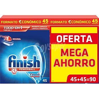 Finish detergente lavavajillas Power Ball todo en 1 Original caja 90 pastillas pack 2 caja 45 pastillas