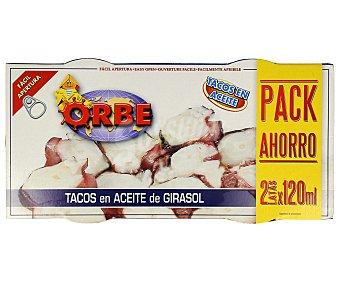 Orbe Tacos en aceite vegetal al estilo pulpo, pack de 2 unidades de 72 gramos 2x72g