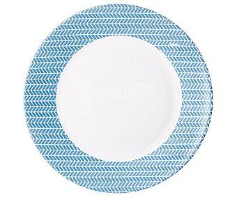 ARC Plato llano de color blanco y azul de 25 centímetros, ARC.