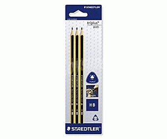 Staedtler Lote de 3 lápices de grafito, con cuerpo triangular de color amarillo y negro, con grosor de escritura de 2 milímetros y dureza 2HB, triplus slim 1 unidad
