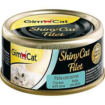 GimCat Shiny CAT filet comida húmeda para gatos filetes de pollo y atún Envase 70 g