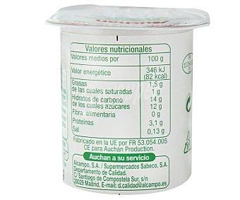 Auchan Yogur de bifidus con fresas Pack 4 unidades de 125 gramos