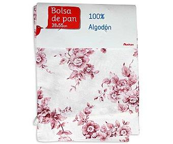 Auchan Bolsa de pan estampado floral color rosa, 38x55 centímetros 1 Unidad