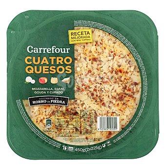 Carrefour Pizza fresca cuatro quesos Pack de 2x225 g