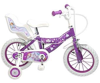 TOIMSA Bicicleta Infantil Princesa Sofía con Portamuñecas Trasero, 1 Velocidad 14 Pulgadas 1 Unidad
