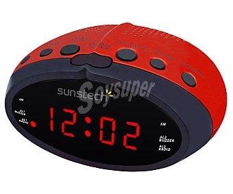 SUNSTECH FRD16RD Radio reloj despertador con sintonizador de radio am/fm, iluminación en color rojo y control de volumen digital