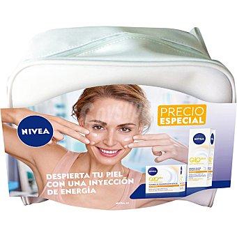 NIVEA pack Q-10 Plus con crema anti-arrugas cuidado de día energizante + serum elixir Energy dosificador 40 ml + neceser tarro 50 ml