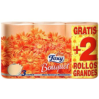 FOXY Bouquet Papel higiénico 3 capas Paquete 4 rollos