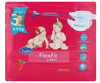 Auchan Pañales talla 3 para niños de 4-9 kilogramos flexifit 35 unidades