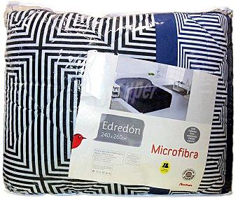 AUCHAN Edredón estampado tempo color azul para cama doble, 240x260 centímetros 1 Unidad