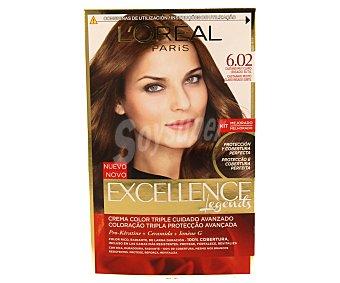 L'Oréal Paris Tinte castaño muy claro irisado sutil Nº 6.02 Excellence 1 unidad