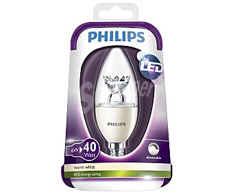 Philips Bombilla led vela 6 Watios, con casquillo E14 (fino) y luz cálida 1 unidad