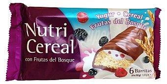 NATRA Barrita cereales nutricereal frutas del bosque yogur chocolate leche Pack de 6x20 g