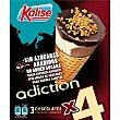 Adiction, conos de heladohocolates sin azúcares añadidos 4 unidades, estuche 480 ml Kalise